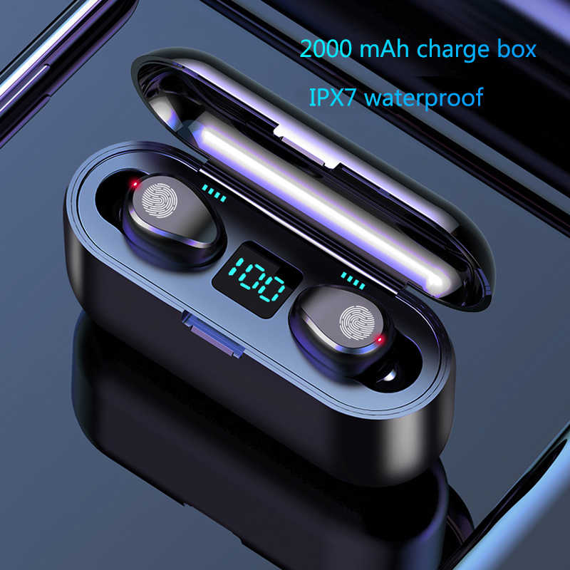 Wireless Earphone Bluetooth V5.0 F9 TWS Wireless Bluetooth Headphone LED Display With 2000mAh Power Bank Headset With Microphone