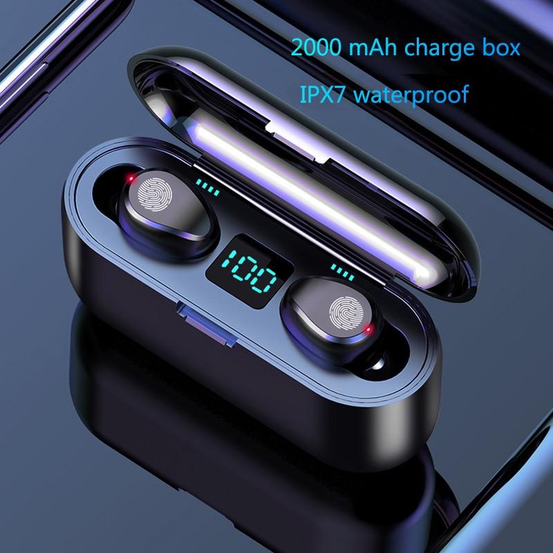 Wireless Earphone Bluetooth V5.0 F9 TWS Wireless Bluetooth Headphone LED Display 2000mAh Charging Box Headsets With Microphone(China)