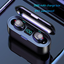 Wireless Earphone Bluetooth V5.0 F9 TWS Wireless Bluetooth Headphone LED Display With 2000mAh Power Bank Headset With Microphone(China)
