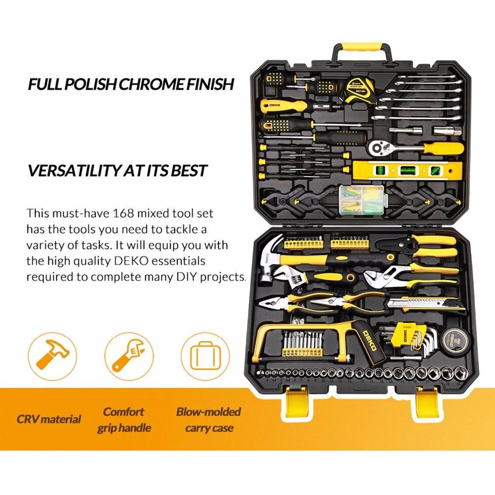 DEKO 168 Pcs Handgereedschap Set Algemene Huishoudelijke Hand Tool Kit met Plastic Toolbox Opslag Case Dopsleutel Schroevendraaier Mes - 2