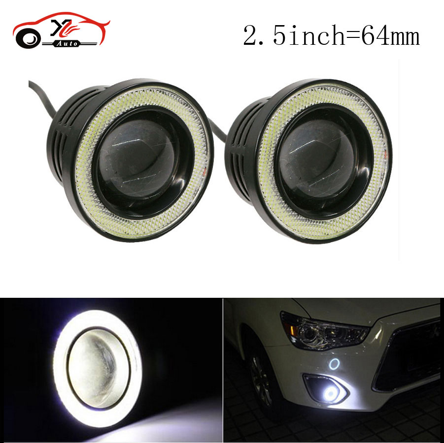 2pcs 2.5 Waterproof Projector LED With Lens Halo Angel Eyes Rings COB 30W Xenon White Fog Light For SUV ATV Off Road New mayitr 2pcs 3 5 car cob led angel eyes fog light lens projector led halo ring white fog drl driving lamp 12v suv atv off road