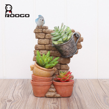 Roogo Antique Flower Pots Chinese Style Home Garden Plant Pot Decorative Flower Pots For Succulents Planter Fairy House