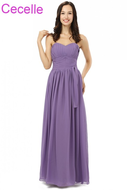 Lilac Chiffon Long Beach Bridesmaid Dresses Sweetheart Pleats A Line Floor Length Rustic Formal Wedding