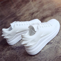 2018 New Women Shoes Fashion Wings High Quality White Black Female Platform Increased Shoes Brand Casual