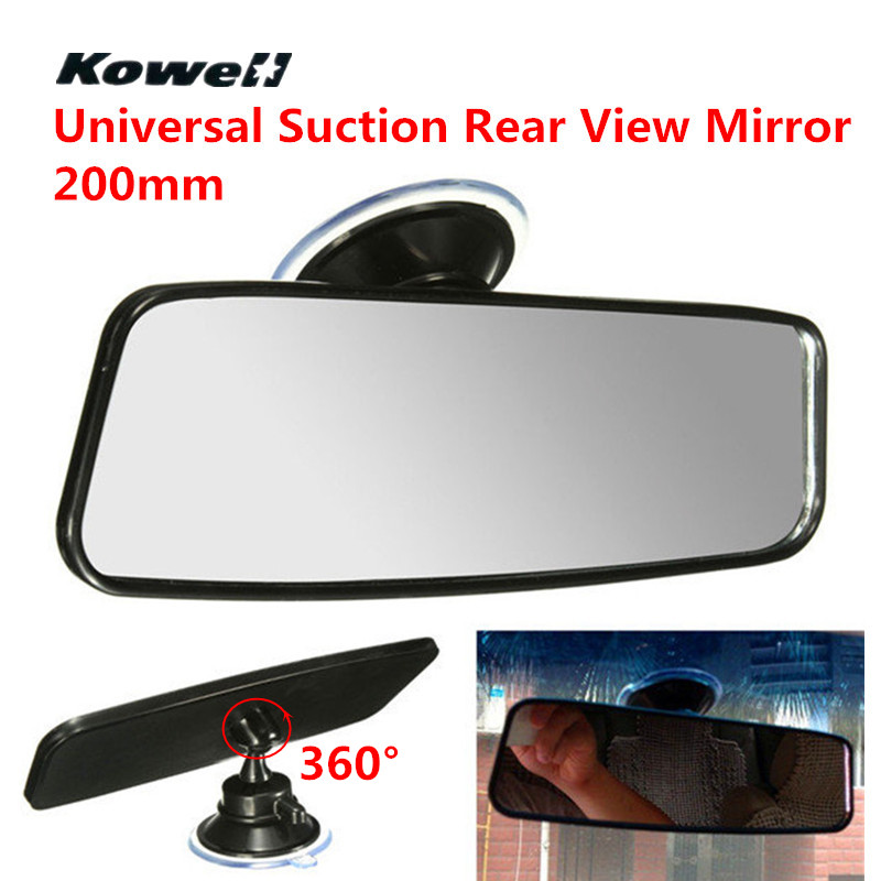 KOWELL 200mm Universal Suction On Adjustable Inside Rear View Mirror Car Wide Vision Interior Mirrors Flat Rearview Mirror Glass