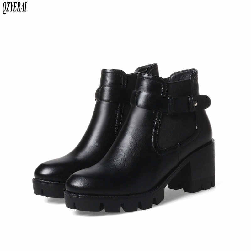 QZYERAI 2018 зима новый 100% натуральная кожа женские ботинки Коренастый и поясом из воловьей кожи Женские ботинки в стиле ретро женские Бесплатная доставка