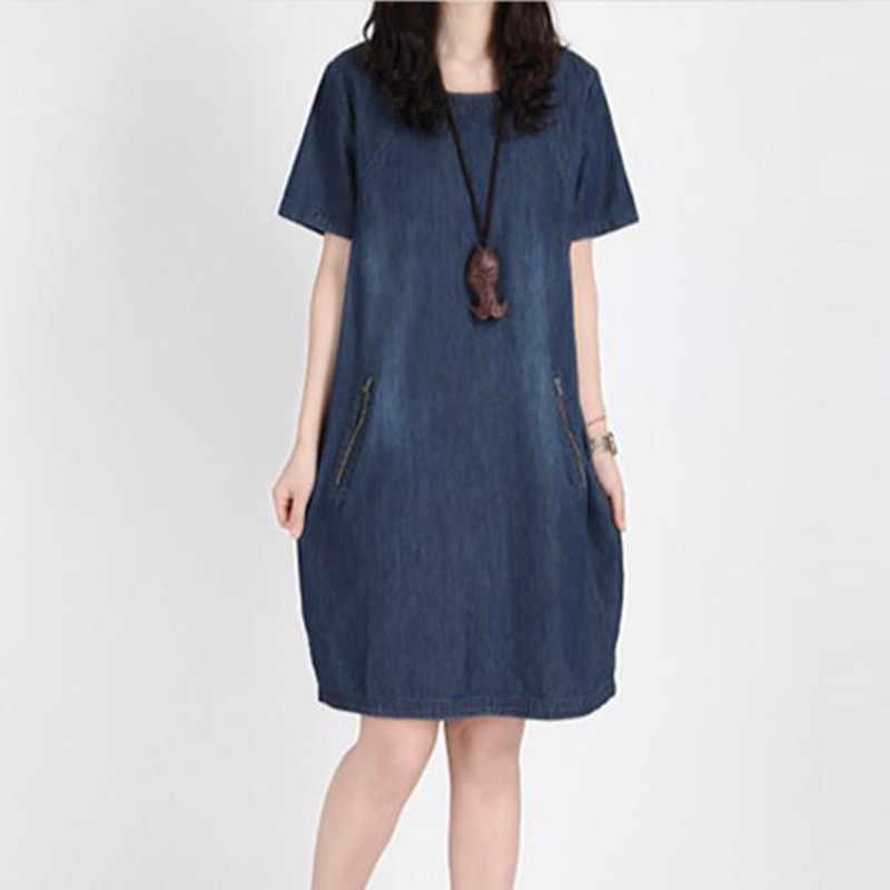 Лидер продаж Для женщин Летнее Детское платье Большие размеры платье легко расслабляющий чистый цвет Ковбойское платье с коротким рукавом Узкие вставки Для женщин платья Y03