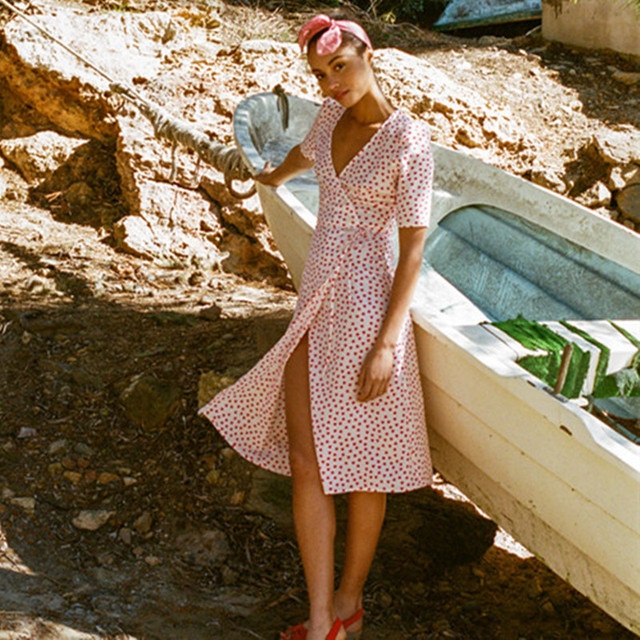 c639359364 V-neck Lace-up Women Summer Dress 2018 Rouje Printed Casual Women Vintage  Beach Dress Buttons Knee-length Femme Dress cwd0169-5