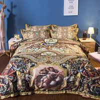 Klassischen Europäischen Barock Bettwäsche Set Twin Königin König Größe Bettbezüge Kissen Baumwolle Flache Bettwäsche oder Ausgestattet Blätter