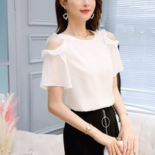 Women O Neck Solid Ruffled Short Sleeve Cold Shoulder Chiffon Blouse Summer Office Lady Tops