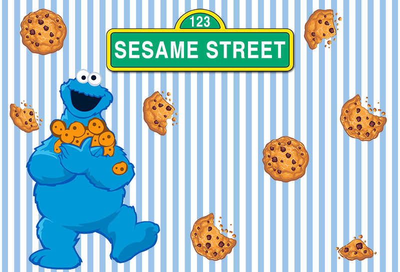 Blue Stripes Cartoon Cookie Monster First Birthday background Photo  backdrops Sesame Street Newborn Party Event Banner 7x5ft