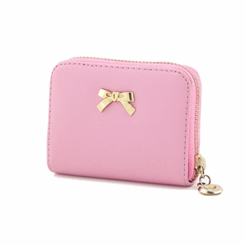 Női pénztárca 2018 Bowknot cipzáras érme erszényes viselhető rövid pénztárca táska női pénztárca női tengelykapcsoló táskák Carteira Feminina