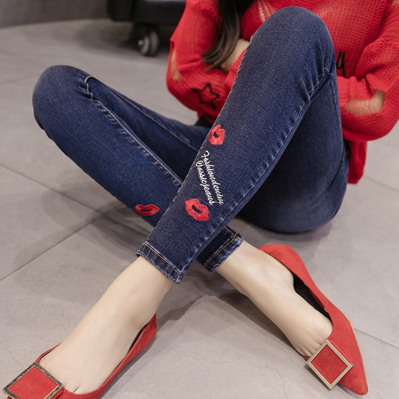 Embroidery High Waist Jeans Woman Skinny Holes Ripped Denim Pants Female Stretch Pencil Bottom Elastic Denim Trousers Femme