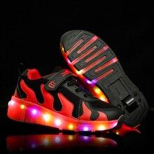 Skate-Shoes Wheels Roller Led-Light Kids Sneakers Children Black White Boys Fashion Girls
