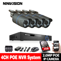 NINIVISION 4CH NVR 1080P IP Network PoE Video Record 2.0MP IR Outdoor CCTV Security Camera System Home video Surveillance kit