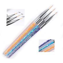 3 шт./компл. кисть для дизайна ногтей, блестки, акриловые ультратонкие искусственные рисунки, ручка, цветочные полосы, фотообои MJS86
