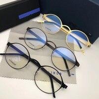Pure Hand made Titanium Glasses Frame Men Vintage Round Screwless Eyewear Optical Prescription Brand Eyeglasses Frame Women