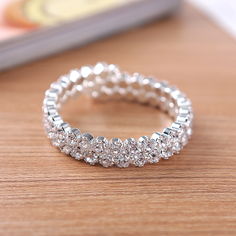 2017 Bangles Pulseiras Carter Love Bracelet Glitzy Dazzling Diamante Big Rhinestone Jewelry Stretch Cuff Bangle Bracelet 2 Row