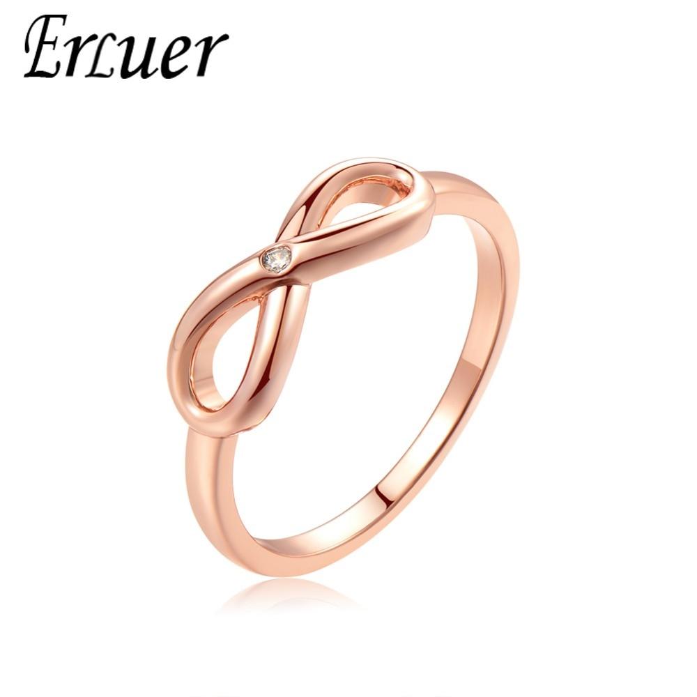 Ehrgeizig Erluer Damen Ring Neue Heiße Mode Einfachen Rose Gold Unbegrenzte 8 Wort Ring Zirkon Weibliche Modelle Gold/silber Weibliche Modelle Ring Bequem Und Einfach Zu Tragen