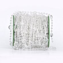 30M/lot 14mm rund 10mm square acrylic disk beaded Iridescent crystal garland strands for wedding decoration chandelier wa082