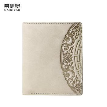 NAISIBAO 2020 New Genuine Leather wallet top Cowhide Embossing Flower women wallet Simple Short walle leather women clutch bag