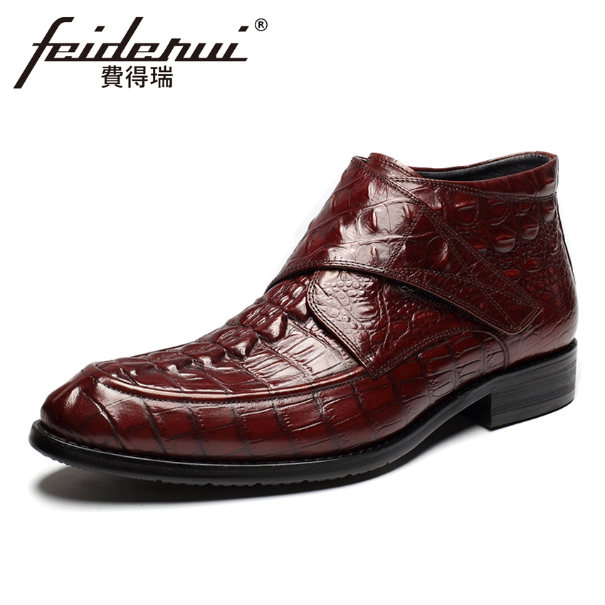 Luxury Designer Genuine Cow Leather Men's Handmade Ankle Boots Round Toe High-Top Alligator Cowboy Riding Shoes For Man HMS61 new arrival luxury genuine leather men s handmade ankle boots round toe lace up alligator cowboy riding shoes for man hms84