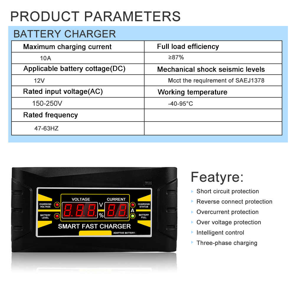 Penuh Otomatis Cerdas 12 V 10A Asam/Gel Baterai Charger LCD Display US Plug Smart Cepat baterai Charger