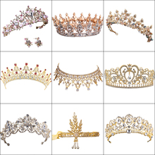 Hot Sale Vintage Gold tiara Crystal Wedding Crown For Bride Hair Accessories Queen Round Pearl Big Crown Wedding Hair Jewelry