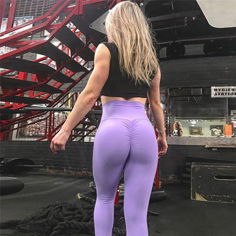 Women Pure Color Tight Pants Gym Jogging Bottom Sexy Slim Package Hip Yoga Sports Pants High Quality