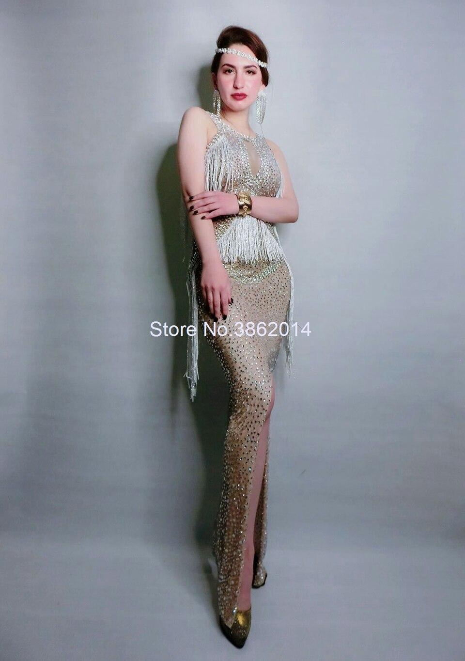 Sparkly cristais franja vestido cantor desempenho traje festa de aniversário celebridade cheia strass vestidos sem mangas vestido longo - 3