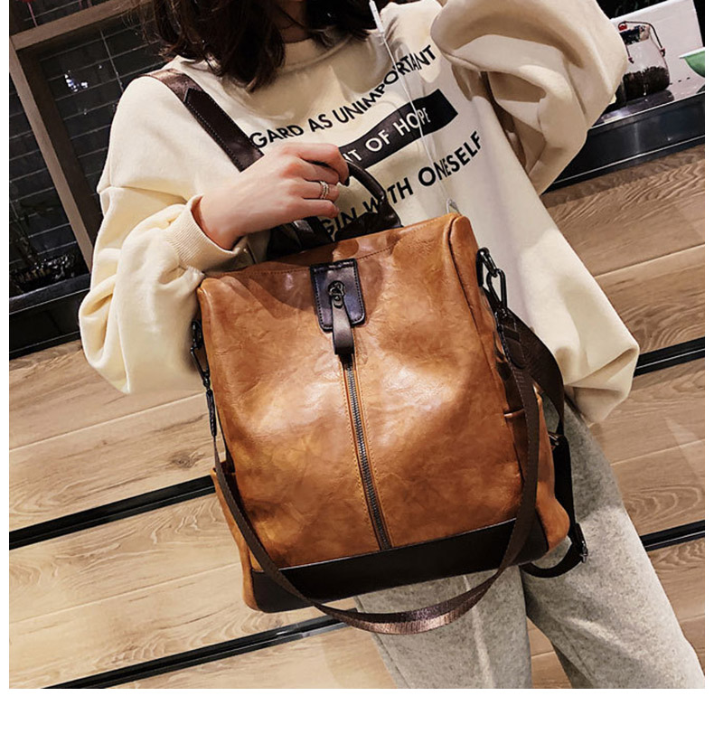 HTB1BVchbcfrK1Rjy1Xdq6yemFXao Fashion Women High Quality Leather Backpack Multifunction Leatherett Backpack For Female Big Bookbag Travel Bag Sac A Dos XA279H