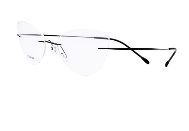 6d4fffeee97 Fashion Women Cat Eye Rimless Titanium myopia glasses prescription glasses  Optical Eyewear short-sighted glasses