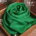 Подлинная Шелк Шарф Женщин 2016 Лето Осень Зима Высокое Качество Шаль Мода Изумрудно-Зеленый Сплошной Цвет Шарфы