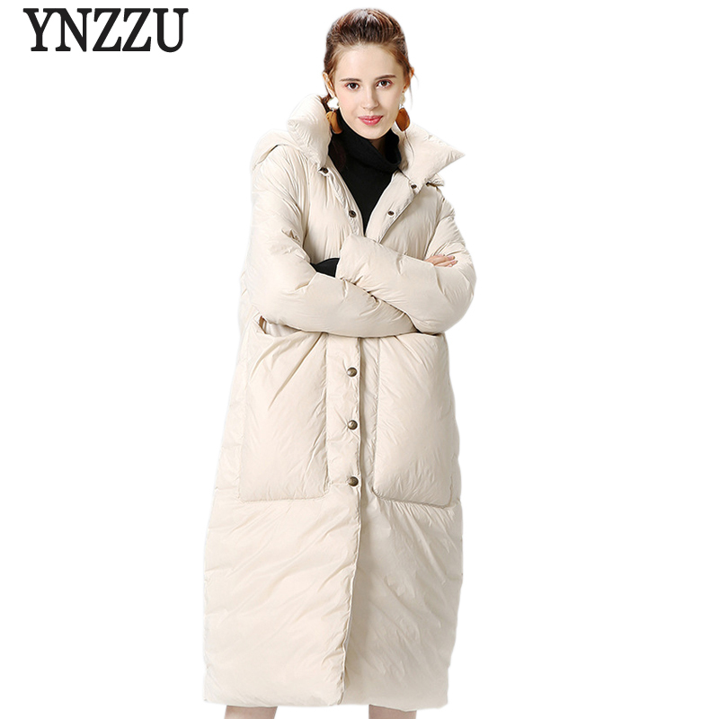 YNZZU New Winter Jacket Women 90% White Goose Down Coat Solid Thick Stand Collar Warm Female Jacket Pockets High Quality YO489