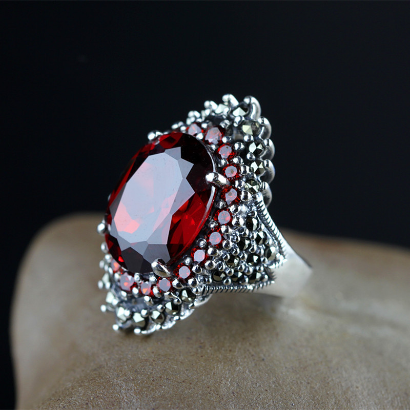 Ms. Thai silver retro finger ring 925 sterling silver inlaid red garnet noble palace paragraph цены онлайн