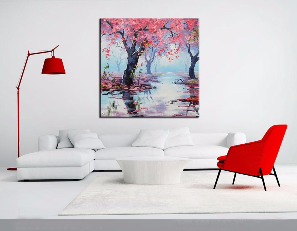 Abstract Style Stunning and Beautiful Tree Canvas Paintings Handmade Fine Art Bloom Palette Knife Oil Painting Hang on the WallAbstract Style Stunning and Beautiful Tree Canvas Paintings Handmade Fine Art Bloom Palette Knife Oil Painting Hang on the Wall