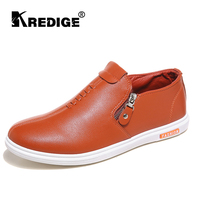 KREDIGE Anti-Odor Zip Tide Leather Shoes Hard-Wearing Mens Casual Shoes PU Breathable Waterproof Plate Shoes British Style 39-44