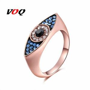 Женское кольцо с кристаллами, геометрическое кольцо со сглаза, розовое золото с серебристым покрытием, подарок на день Святого Валентина 2018