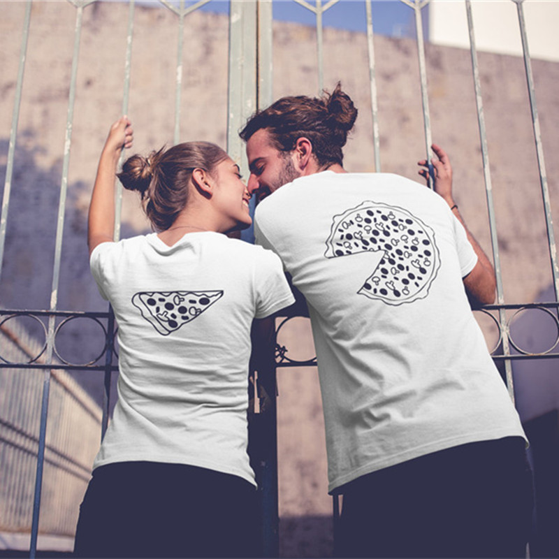 100% Quality Pizza Couple T Shirts For Lovers 2018 Casual Matching Couple Clothes Summer Men And Women Valentine's Day Tops Tees Bright And Translucent In Appearance