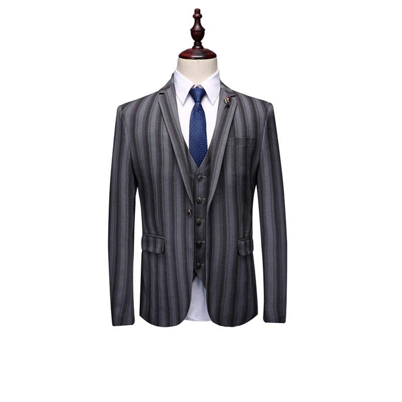 Homme Rayé Gilet Qualité Pantalon Robe ardoisé Ensemble Noir De veste Costumes Le Marié Vêtements Kolmakov Mariage Haute D'affaires Pour Hommes 1ZxSqa