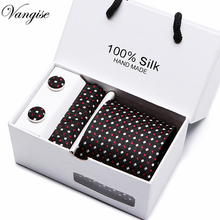 Vangise Mans Ties Dots Necktie Hanky Sets 8cm Polyester Neckwear Cufflinks Business Formal Men Casual Tie Black White