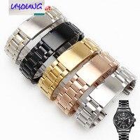 Uyoung new black thép không gỉ xem dây đeo kim loại vòng đeo tay đồng hồ nữ dây đeo thay thế + công c