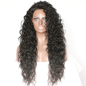 Image 3 - BeautyTown Kinky Curly Type Futura Heat Resistant Hair Black Color Women Daily Makeup Synthetic Lace Front Party Wigs