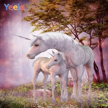 Yeele Dreamy Unicorn Forest Trees  Backdrops For Photography Children Birthday Party Photographic Backgrounds Photo Studio