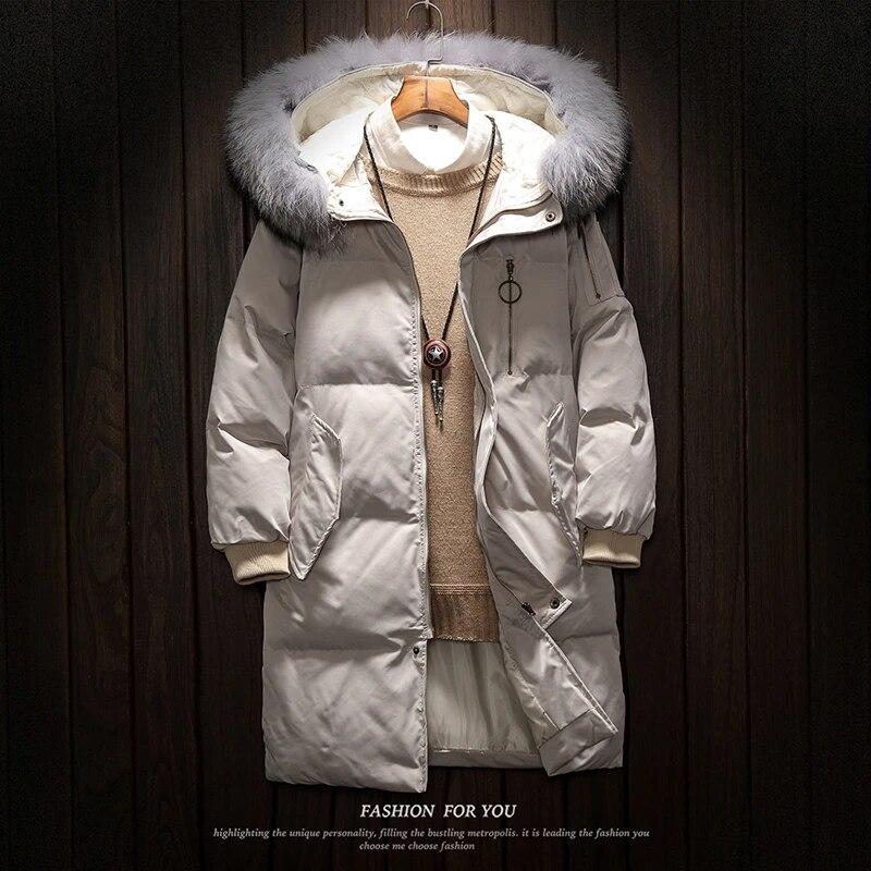 Men Faux Fur Loose Thicken Warm Winter Overcoat Parka Outwear Hooded Jacket Coat
