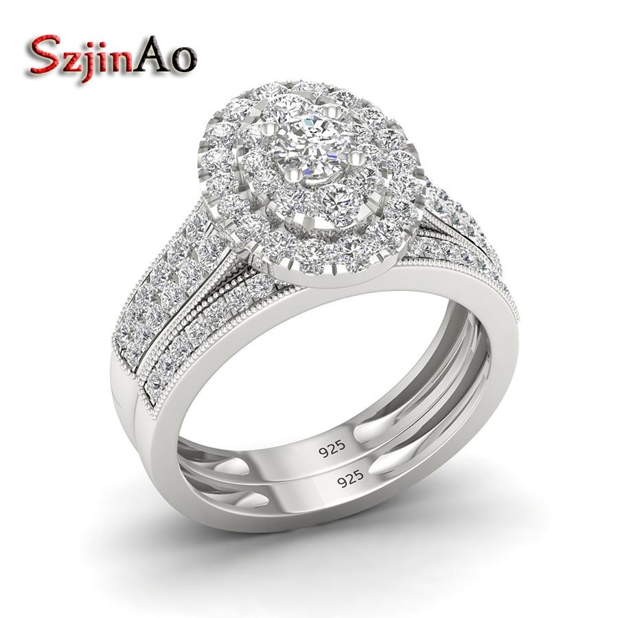Szjinao luxe or blanc accessoires de mariage ovale CZ anneaux ensembles ethnique Punk 925 bagues en argent Sterling pour les femmes cadeau de demoiselle d'honneur