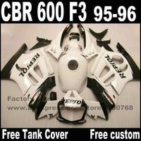 Motorcycle fairings set for HONDA CBR 600 F3 1995 1996 black white REPSOL cbr600 95 96 plastic fairing kit +tank cover YP33