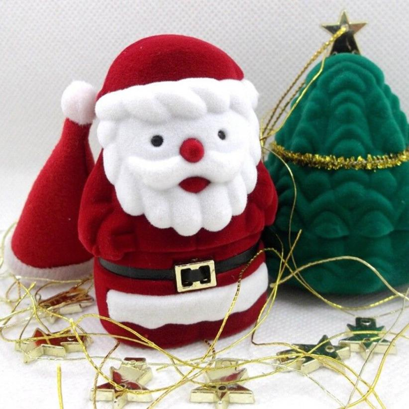 New Christmas Santa Claus Jewelry Box Xmas Gift Ring Earring Necklace Case Holder Delicate Nov 8
