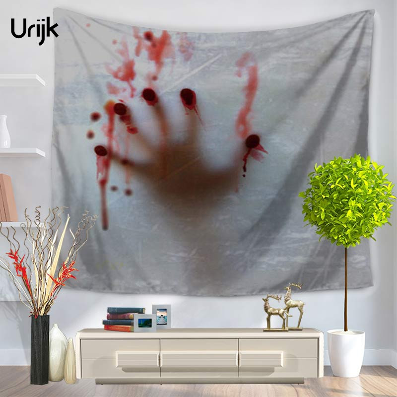 urijk 1pc halloween home decorative blood printed tapestry party tablesofa covers rectangle wall hanging