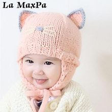 Baby Knit Beanie Hat with Ears Cartoon Cat  Infant Bonnet Winter Warm Baby Cap For Baby Girls Boys Newborn Photography Props yundfly knit baby hat newborn photography props candy color flower beanie cap baby fotografia hair accessories